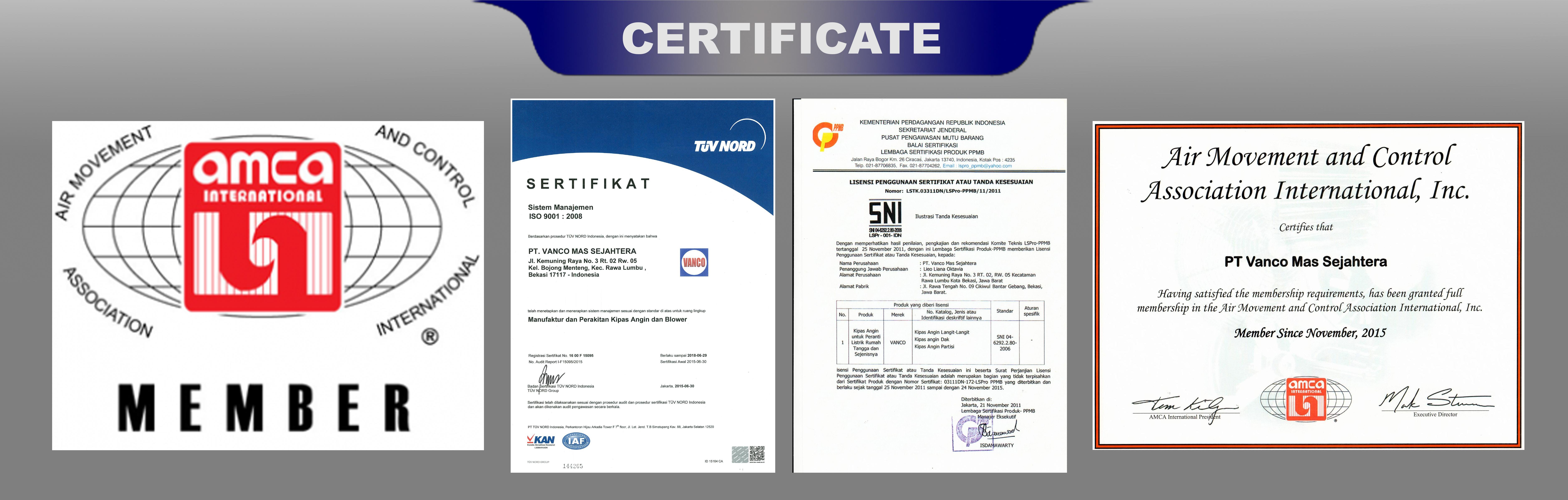 sertifikat standar internasional vanco fan